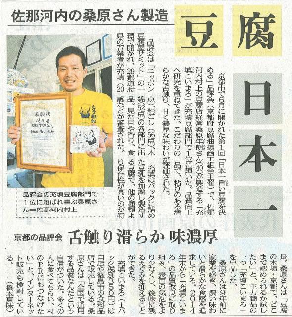 ☆村のおっさん 充填こいまろ 日本一の徳島新聞の記事